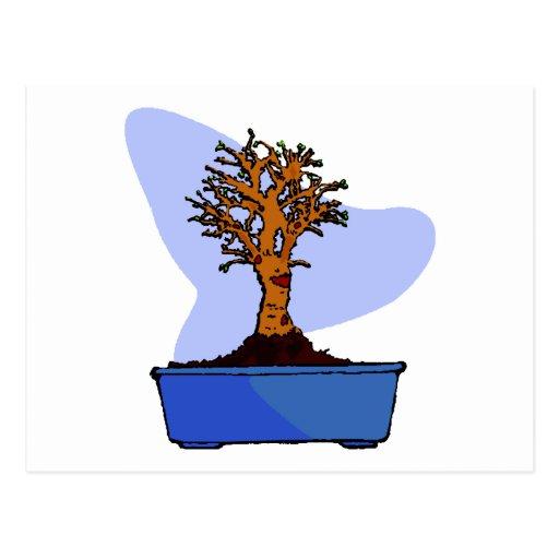 Imagen azul arreglada bonsais del gráfico del pote postal