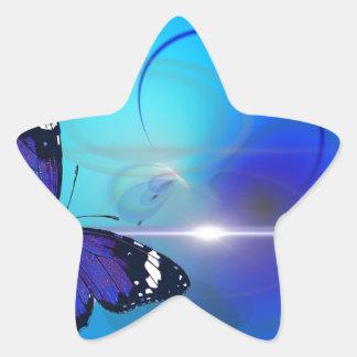 Imagen azul de la mariposa pegatina en forma de estrella
