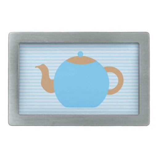 Imagen azul de la tetera en rayas azules hebillas cinturon rectangulares