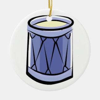 Imagen azul del vintage del extracto del tambor de adorno redondo de cerámica