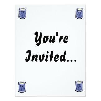 Imagen azul del vintage del extracto del tambor de invitación 10,8 x 13,9 cm