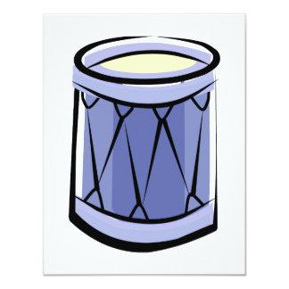 """Imagen azul del vintage del extracto del tambor de invitación 4.25"""" x 5.5"""""""