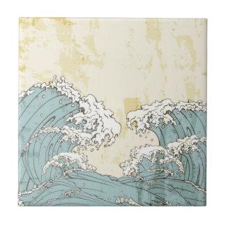 Imagen azul grande fresca de las olas oceánicas azulejo cuadrado pequeño