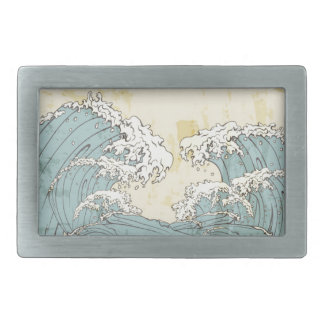 Imagen azul grande fresca de las olas oceánicas hebilla cinturon rectangular
