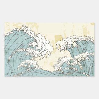 Imagen azul grande fresca de las olas oceánicas pegatina rectangular