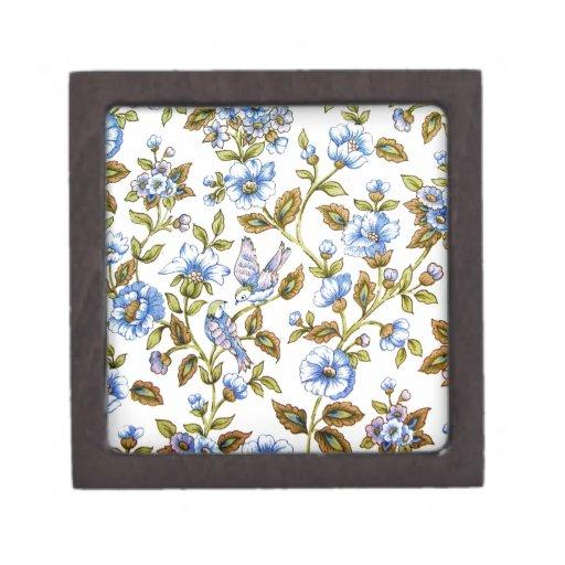 Imagen azul impresionante del diseño floral de los caja de recuerdo de calidad
