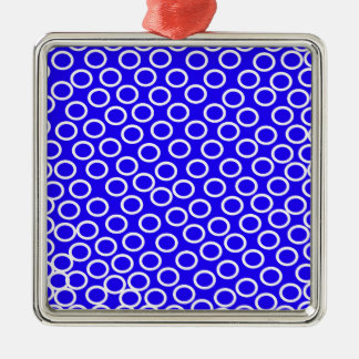 Imagen azul redonda adorno navideño cuadrado de metal