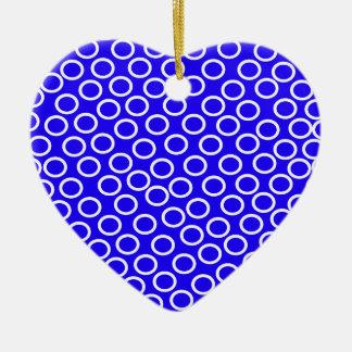 Imagen azul redonda adorno navideño de cerámica en forma de corazón