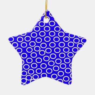Imagen azul redonda adorno navideño de cerámica en forma de estrella