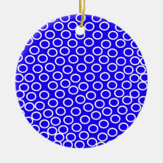 Imagen azul redonda adorno navideño redondo de cerámica