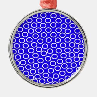 Imagen azul redonda adorno navideño redondo de metal