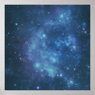 Imagen azul y púrpura del espacio póster