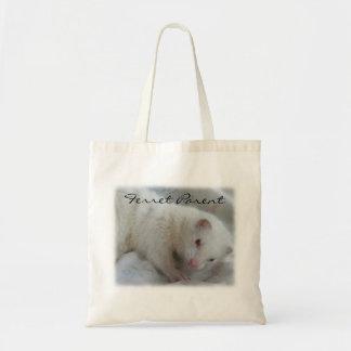 Imagen blanca del hurón del albino bolsa tela barata