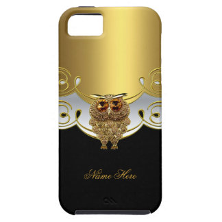 imagen blanca negra de la joya del búho del oro funda para iPhone 5 tough