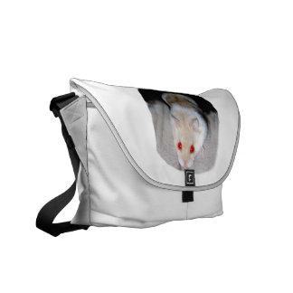 Imagen blanca y rubia del hámster del albino bolsa messenger