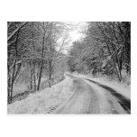 Imagen blanco y negro de la carretera nacional con postal