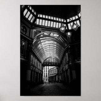 Imagen blanco y negro del mercado Londres de Leade Posters