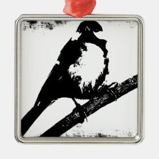 Imagen blanco y negro del pájaro adorno cuadrado plateado