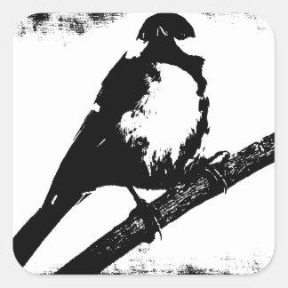 Imagen blanco y negro del pájaro pegatina cuadrada