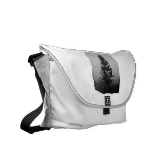 Imagen blanco y negro del pino de Norfolk de niebl Bolsas De Mensajería