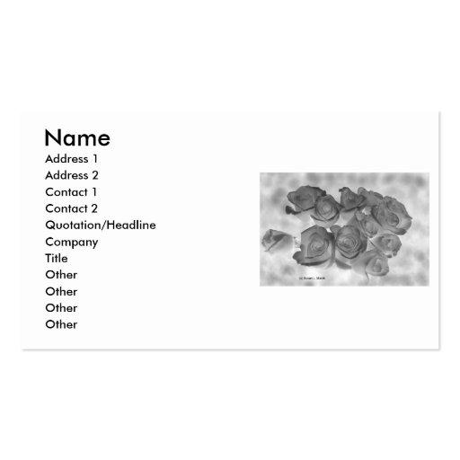 Imagen blanco y negro negativa de rosas tarjetas de visita