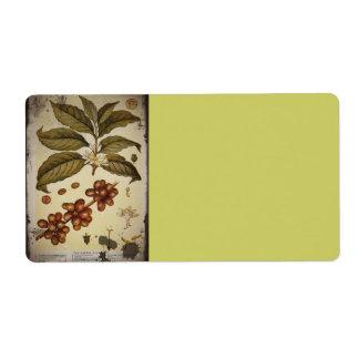 Imagen botánica del café del vintage etiquetas de envío