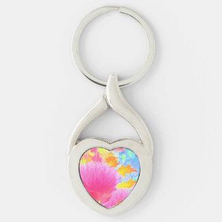 Imagen brillante 1 de las cebolletas - llavero llavero plateado en forma de corazón