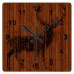 Imagen calificada caliente rústica de los ciervos  relojes de pared