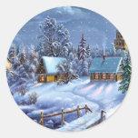Imagen clásica, hermosa del navidad del vintage pegatina redonda