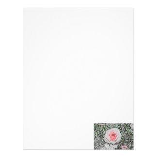 imagen color de rosa rosada de la flor del color d membretes personalizados