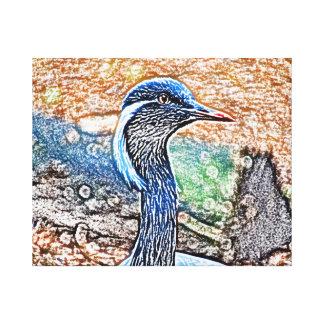 imagen coloreada grúa con cresta del pájaro de la  impresión en lienzo estirada
