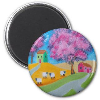 Imagen colorida del arte popular de las ovejas lin imán redondo 5 cm