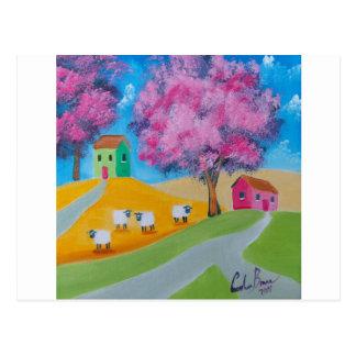 Imagen colorida del arte popular de las ovejas postal