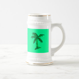 Imagen con lentejuelas sucia de la palmera jarra de cerveza