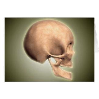 Imagen conceptual del cráneo humano, vista lateral tarjeta de felicitación