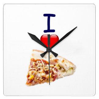 Imagen cuadrada del reloj de pared de la pizza