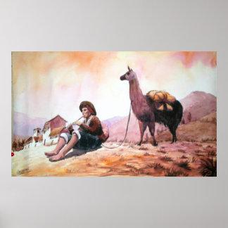 Imagen Cuzco Perú de la llama Poster