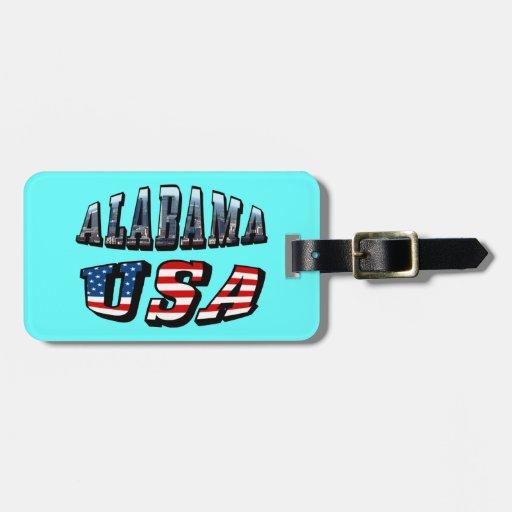 Imagen de Alabama y fuente de la bandera de los Etiquetas De Maletas