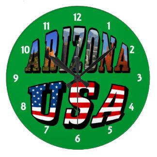 Imagen de Arizona y texto de la bandera de los E.E Reloj