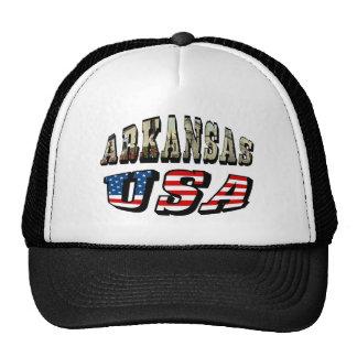 Imagen de Arkansas y texto de la bandera de los E. Gorras