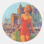 Imagen de Atlantic City del vintage Etiquetas Redondas