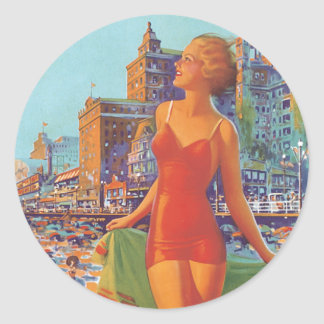 Imagen de Atlantic City del vintage Pegatina Redonda