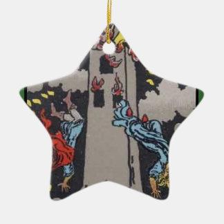 Imagen de carta de tarot de la torre adorno de cerámica en forma de estrella