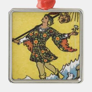 Imagen de carta de tarot del tonto adorno cuadrado plateado