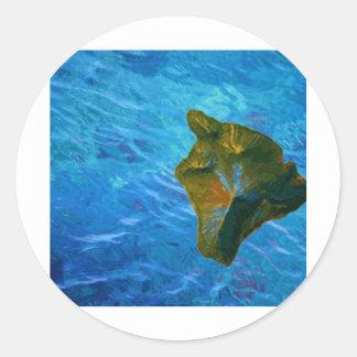 Imagen de Digitaces grande de la isla en el océano Pegatina Redonda