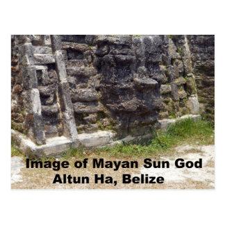 Imagen de dios del sol maya, Belice Tarjeta Postal