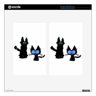 Imagen de dos gatos negros skin para kindle fire