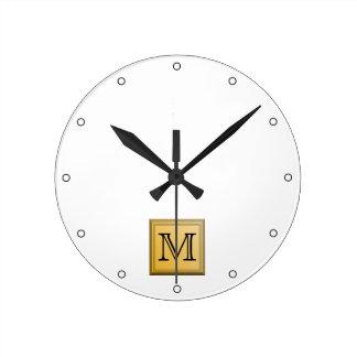 Imagen de encargo del monograma colores nos-metál relojes de pared