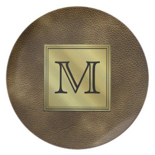 Imagen de encargo impresa del monograma. Brown Platos Para Fiestas