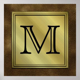 Imagen de encargo impresa del monograma. Brown Póster